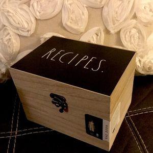 Rae Dunn RECIPES BOX wood HTF